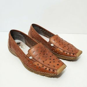 Rieker Antistress Brown Leather Slip On Flats  9.5